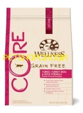 MAKANAN KUCING GRAIN FREE WELLNESS CORE TURKEY, TURKEY MEAL & DUCK FORMULA 12 LB