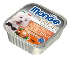 Makanan Basah Anjing Monge Fresh Pate and Chunkies with Turkey 100gr