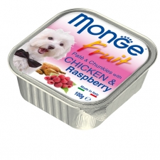 Makanan Basah Anjing Monge Fruit Pate and Chunkies with Chicken and Raspberry 100gr