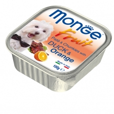 Makanan Basah Anjing Monge Fruit Pate and Chunkies with Duck and Orange 100gr
