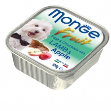 Makanan Basah Anjing Monge Fruit Pate and Chunkies with Lamb and Apple 100gr