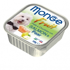 Makanan Basah Anjing Monge Fruit Pate and Chunkies with Salmon and Pear 100gr