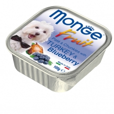 Makanan Basah Anjing Monge Fruit Pate and Chunkies with Turkey and Blueberry 100gr