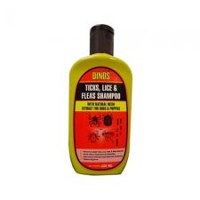 Shampoo Kutu & Tungau Dinos Ticks, Lice & Fleas Shampoo For Dog 225mL