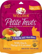 Snack Anjing Wellness Petite Treats Crunchy Mini-Bites with Duck, Mango & Coconut Grain-Free Dog Treats 6-oz (170gr)