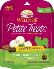 Snack Anjing Wellness Petite Treats Soft Mini-Bites with Lamb, Apples & Cinnamon Grain-Free Dog Treats 6-oz (170gr)