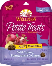 Snack Anjing Wellness Petite Treats Soft Mini-Bites with Turkey, Pomegranate & Ginger Grain-Free Dog Treats 6-oz (170gr)