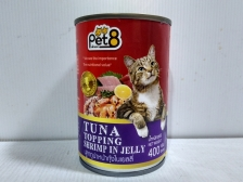 Makanan Basah Kucing Pet8 Tuna Topping Shrimp in Jelly 400gr