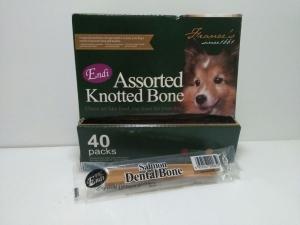 Snack Anjing Endi Assorted Knotted Bone Salmon Dental Stick (Harga per pcs)