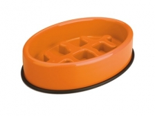 Mangkuk M-Pets Fishbone Slow Feed Oval Bowl 27.5x19.7x6cm 10504017
