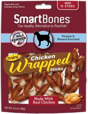 SNACK ANJING SMART BONES CHICKEN WRAPPED MINI 15 STICKS