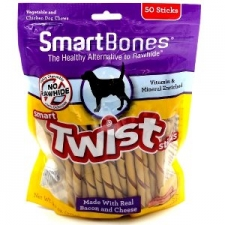 SNACK ANJING SMART BONES TWIST BACON & CHEESE 50 STICKS