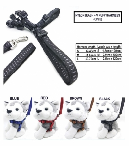 Tali Tuntun Anjing Kucing CP Nylon Leash + V Puffy Harness S
