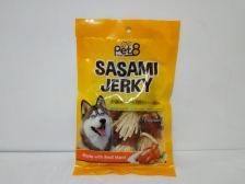 Pet8 Sasami Jerky Fish Mini Strap Wrapped Chicken Jerky 50gr