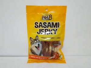 Pet8 Sasami Jerky Soft Chicken Dumble With White Rawhide 50gr
