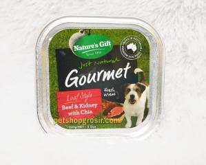 Makanan Basah / Kornet Anjing Nature's Gift Gourmet Beef & Kidney with Chia Loaf Style 100gr