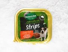 Makanan Basah / Kornet Anjing Nature's Gift Strips with Beef, Sweet Potato & Spinach Gravy Style 100gr