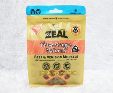 Snack Anjing & Kucing Grain Free Zeal Treats Free Range Naturals Beef & Venison Morsels 100gr
