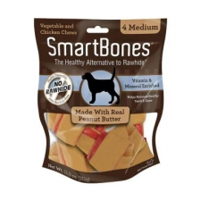 Snack Anjing Smart Bones Peanut Butter 4 Medium