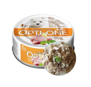 Makanan Basah / Kaleng Anjing Opti-One Dog Chicken & White Tuna, Flaxseed 90gr
