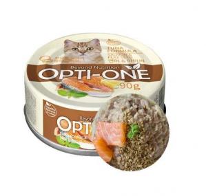 Makanan Basah / Kaleng Kucing Opti-One Cat White Tuna & Salmon, Flaxseed 90gr