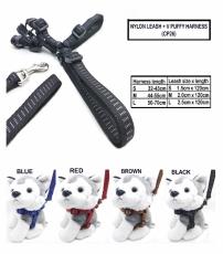 Tali Tuntun Anjing Kucing CP Nylon Leash + V Puffy Harness L