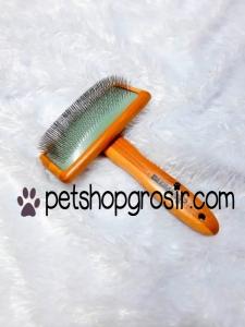 Sisir Hewan untuk Bulu Kusut & Bulu Mati Blow Slicker Brush Wood Large