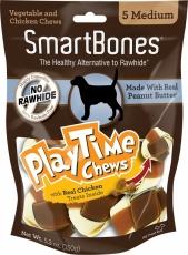 Snack Anjing Smart Bones Playtime Peanut Butter 5 Medium