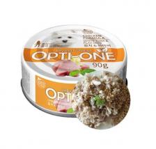 Makanan Basah / Kaleng Anjing Opti-One Dog Chicken & White Tuna, Flaxseed 90gr